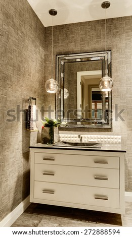 Bathroom in New House: Vanity with Mirror in Luxury Home - stock photo
