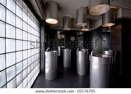 bathroom in new places located in manufacrura lodz - stock photo