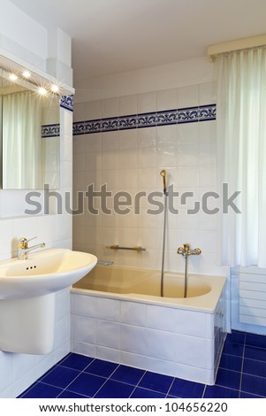 bathroom in style classical, sink and bathtub - stock photo