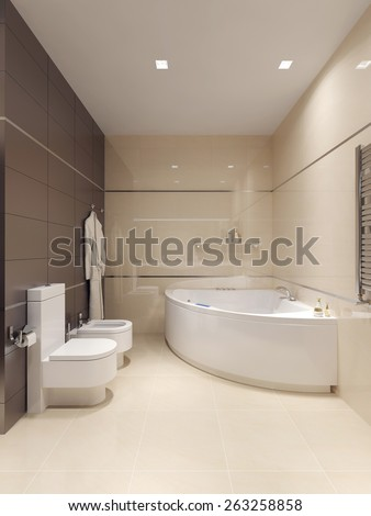 Bathroom inhigh-tech style . 3d render