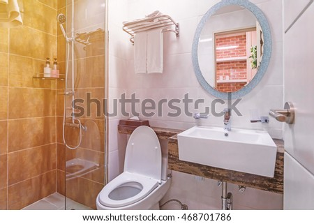 Bathroom interior and toilet in modern washroom. Bathroom Interior Toilet Modern Washroom Stock Photo 468701786