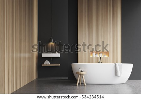 Bathroom Sign Mockup bathroom interior bathtub 3d rendering mock stock photo 534234514