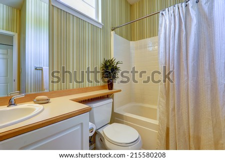 Bathroom interior in american house. Stripped wallpaper, tile wall trim and light brown counter top - stock photo