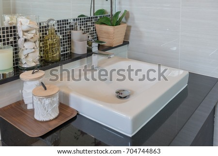 Bathroom Interior In New Luxury Home, Sink With Faucet And Decoration Set,  White Washbasin