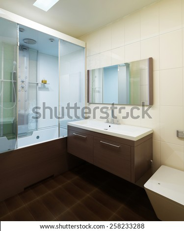 Bathroom interior, modern style. 3d images