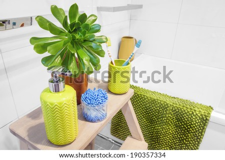 Bathroom interior scene, with beautiful plant, toothbrush