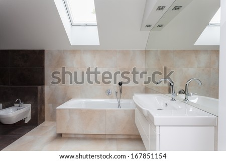 Bathroom interior with beige and brown tiles on walls