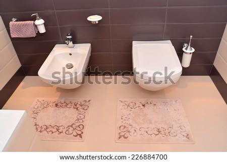 Bathroom interior with the sanitary equipment - stock photo
