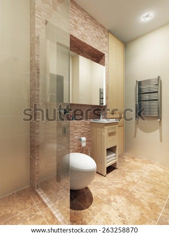 Bathroom loft style. 3d render