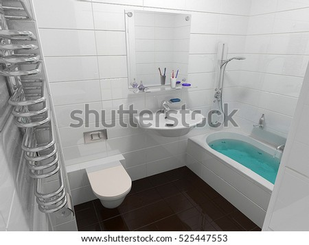 Bathroom minimalist interior design, 3D render