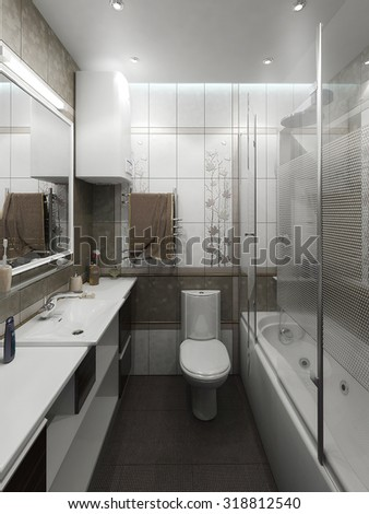 Bathroom minimalist style interior design, 3D render