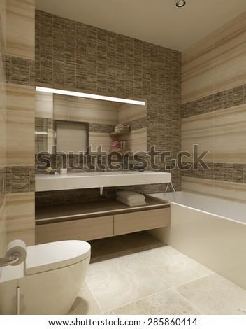 Bathroom modern design. 3d render - stock photo