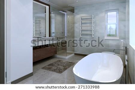 Bathroom modern style. 3d render - stock photo
