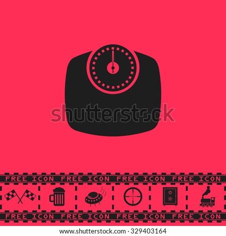 Bathroom scale. Black flat illustration pictogram and bonus icon - Racing flag, Beer mug, Ufo fly, Sniper sight, Safe, Train on pink background - stock photo