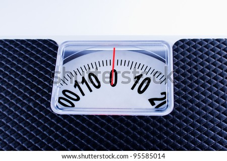 Bathroom Scale close up on wite background - stock photo