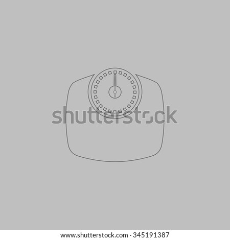 Bathroom scale. Flat outline icon on grey background