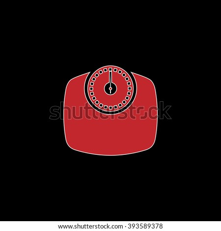 Bathroom scale. flat symbol pictogram on black background. red simple icon with white stroke - stock photo
