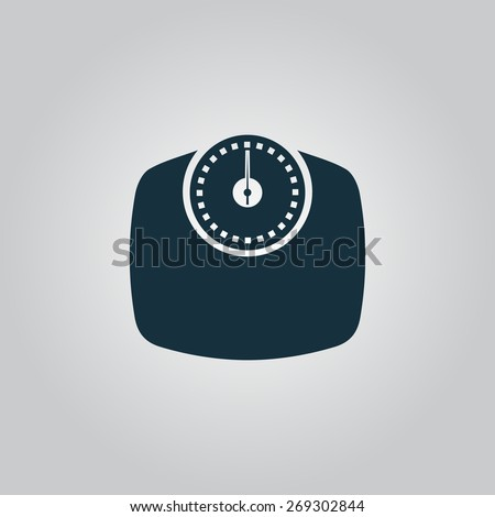 Bathroom scale. Flat web icon, sign or button isolated on grey background. Collection modern trend concept design style illustration symbol - stock photo