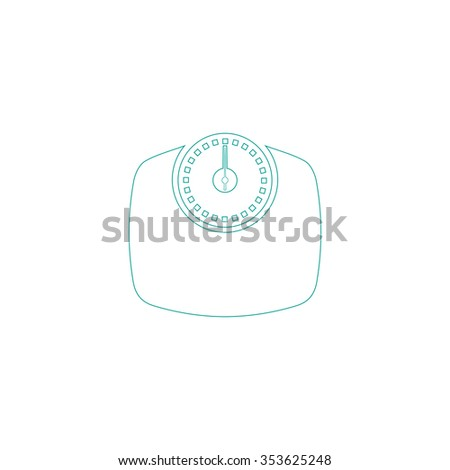 Bathroom scale. Outline symbol on white background. Simple line icon - stock photo