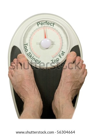 """Bathroom Scale reading """"Perfect"""" Weight - stock photo"""