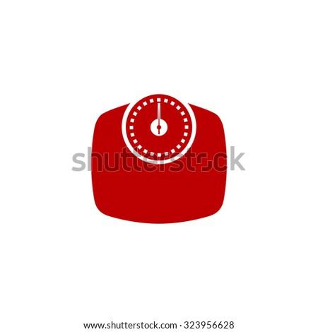 Bathroom scale. Red flat icon. Illustration symbol on white background - stock photo