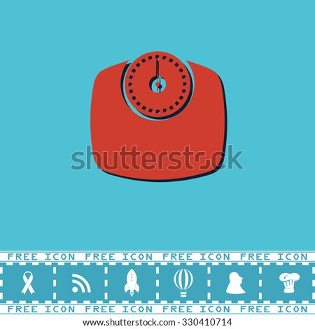 Bathroom scale. Red flat symbol with dark shadow and bonus icon. Simple illustration pictogram on blue background - stock photo