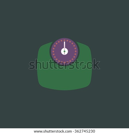 Bathroom scale. Simple flat color icon on colorful background - stock photo