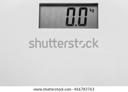 Bathroom scale. Weight loss concept