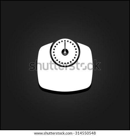Bathroom scale. White flat simple icon illustration with shadow on a black background. Symbol for web and mobile applications for use as logo, pictogram, icon, infographic element - stock photo