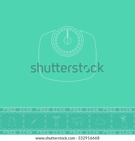 Bathroom scale. White outline flat icon and bonus symbol. Simple illustration pictogram on green background - stock photo