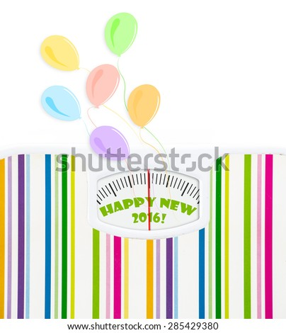 Bathroom scale with balloons and 2016 celebration text on dial, with lines no numbers - stock photo