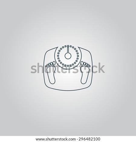bathroom scale with footprints. Flat web icon or sign isolated on grey background. Collection modern trend concept design style  illustration symbol - stock photo