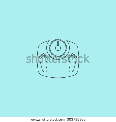 Bathroom scale with footprints. Outline simple flat icon isolated on blue background - stock photo