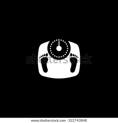 Bathroom scale with footprints. Simple icon. Black and white. Flat illustration - stock photo