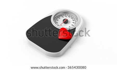 Bathroom scale with heart icon, isolated on white background. - stock photo