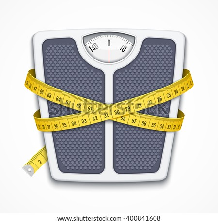 Bathroom scale with measuring tape - stock photo