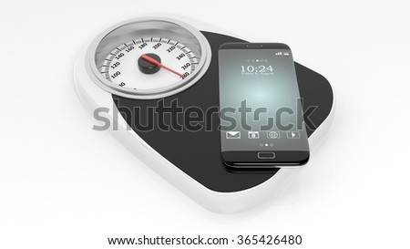 Bathroom scale with smartphone, isolated on white background. - stock photo