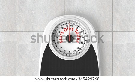 Bathroom scale with Start Diet Today message on dial, on bathroom floor - stock photo