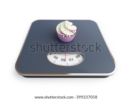 bathroom scale with the cupcake on a white background - stock photo