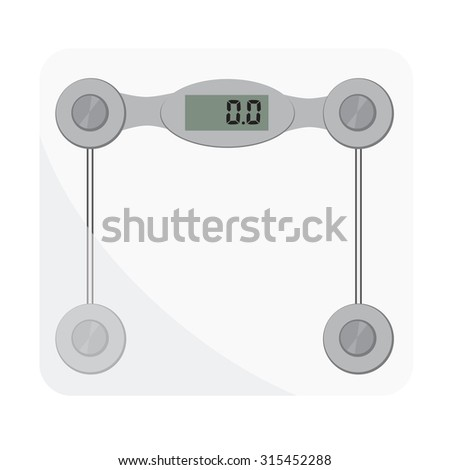 Bathroom scales. Bathroom digital scale . Weight loss, glass scales, floor scale - stock photo