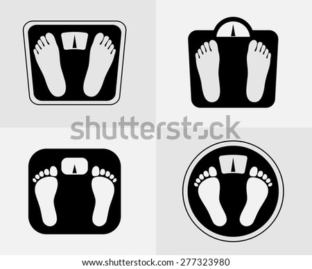 Bathroom scales icons set. Weight control signs. Balance health symbol, object and diet, footprint - stock photo