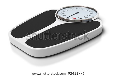 bathroom scales over a white background