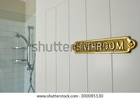 Bathroom Sign On A Home Bathroom Door Of A Shower Room.