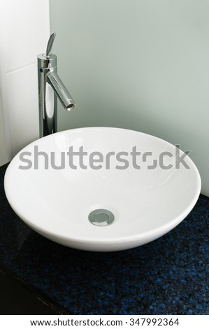 Bathroom sink modern basin white ceramic chrome tap clean
