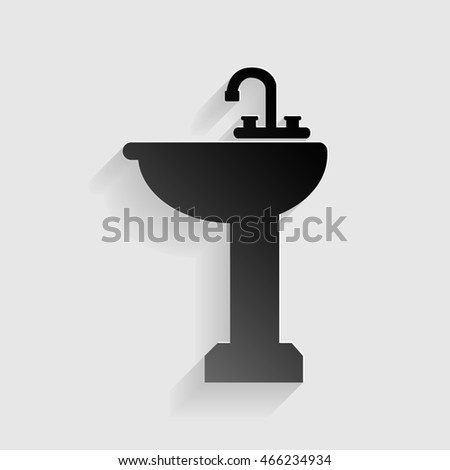Bathroom sink sign. Black paper with shadow on gray background.