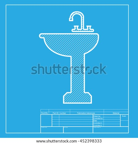 Bathroom sink sign. White section of icon on blueprint template.
