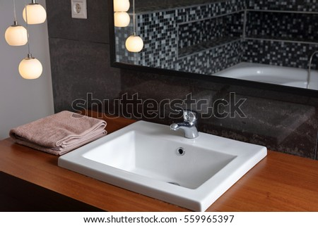 Bathroom sink  washbasins  Sanitary ware in modern minimalistic design. Washbasin Stock Images  Royalty Free Images   Vectors   Shutterstock