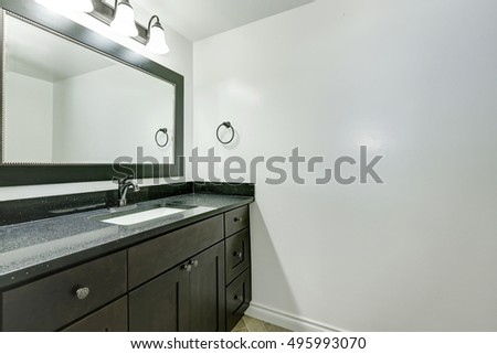 Bathroom vanity in black color in empty apartment. Northwest, USA