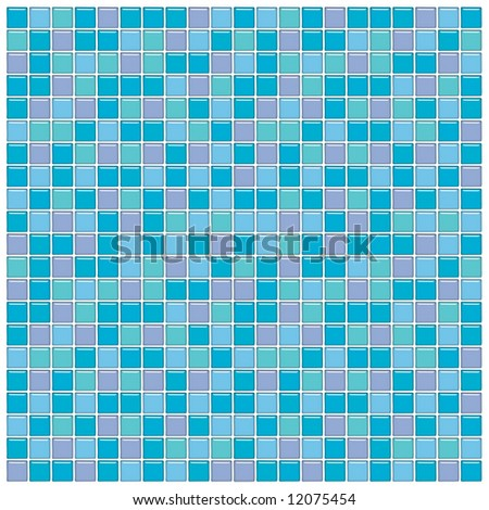 Bathroom wall with blue, green and purple glass mosaic tiles