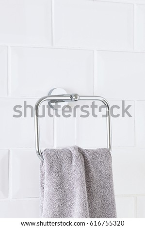 hanging towel. Bathroom Wall With Hanging Towel Interior. Stripped Towels On Holder In The